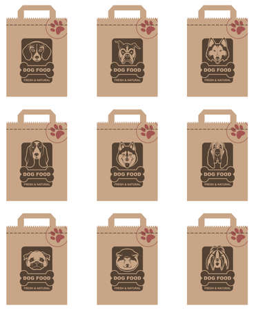 collection of various food packages with dogs heads Illustration