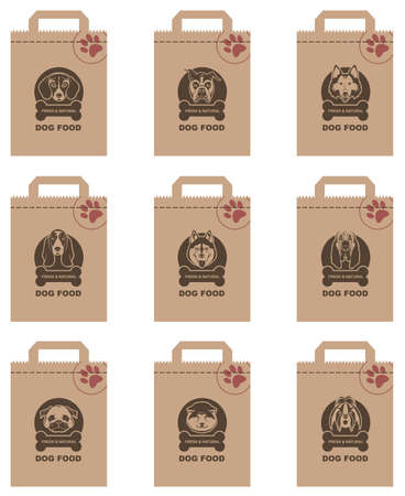 labrador: collection of various food packages with dogs heads Illustration