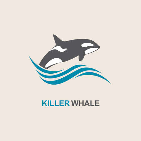 blue fish: symbol of killer whale and sea wave