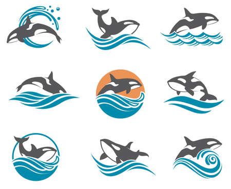 collectie met abstracte symbolen van walvissen en overzeese golf