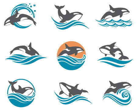collection with abstract symbols of whale and sea wave Illustration