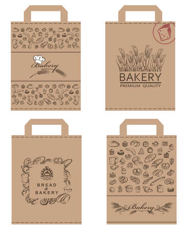 collection of various food packages with bread and bakery products