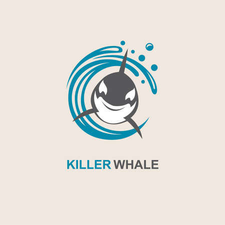 surface: symbol of killer whale and sea wave