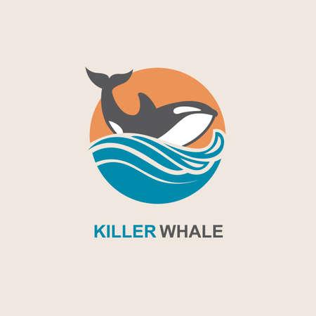 símbolo de la orca y de las olas del mar Ilustración de vector