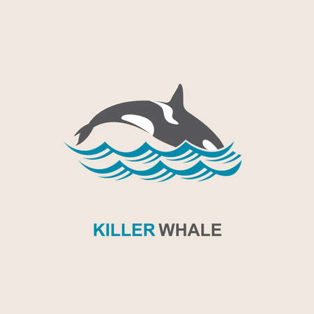 waves abstract: symbol of killer whale and sea wave