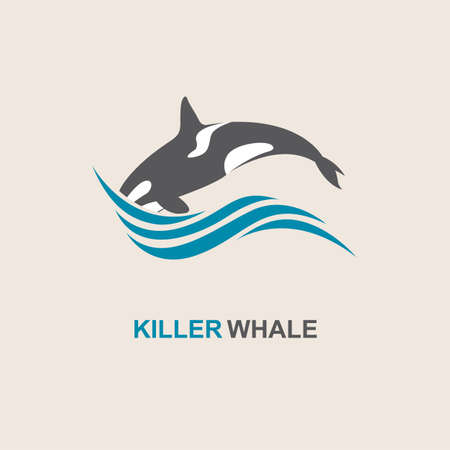 fountain: symbol of killer whale and sea wave