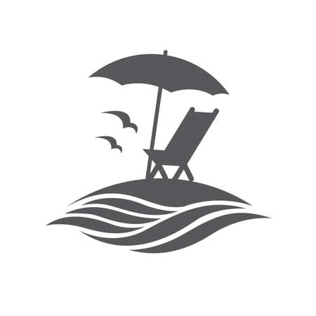 reclining: emblem of summer vacation with reclining chair and umbrella on island