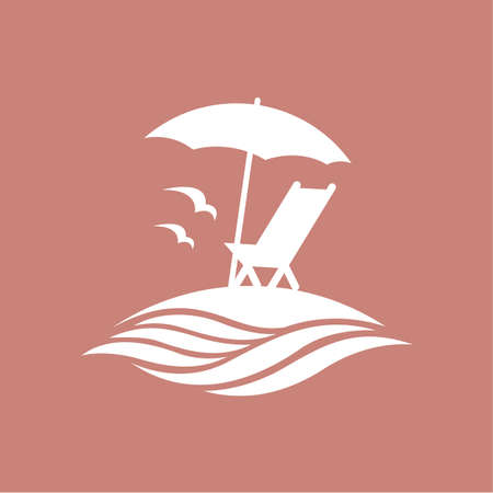 recline: emblem of summer vacation with reclining chair and umbrella on island
