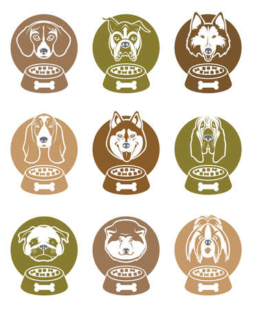 dog: collection of various food labels with dogs heads