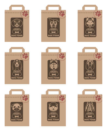 feed: collection of various food packages with dogs heads Illustration