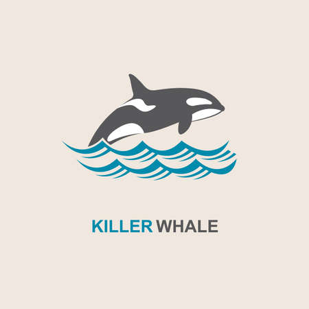 'killer whale': symbol of killer whale and sea wave