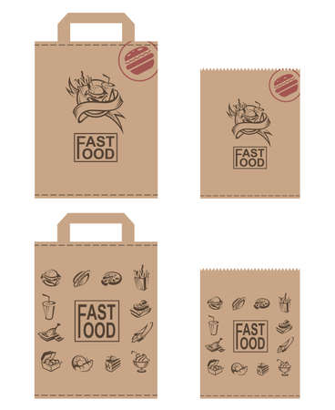 box design: collection of various paper packages for fast food Illustration