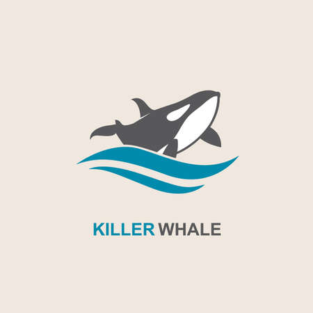 killer waves: symbol of killer whale and sea wave