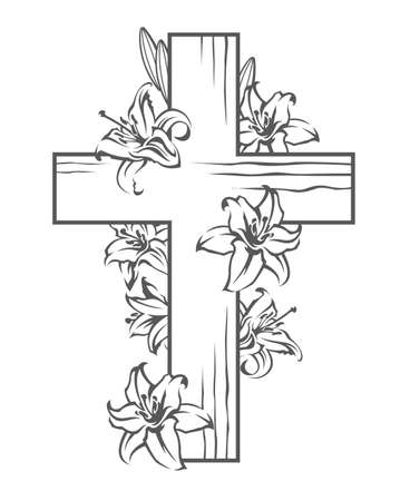 floral image with cross and blooming white lilies, Christian symbol