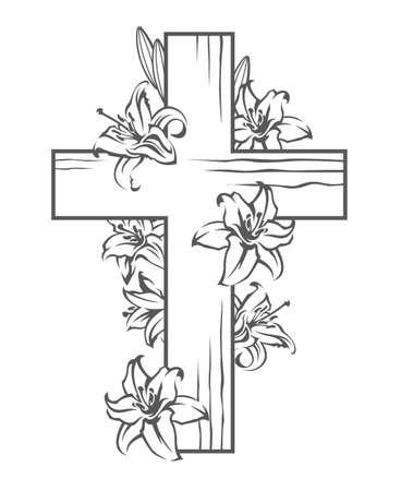 cruz de jesus: imagen floral con la cruz y los lirios en flor blanca, símbolo cristiano