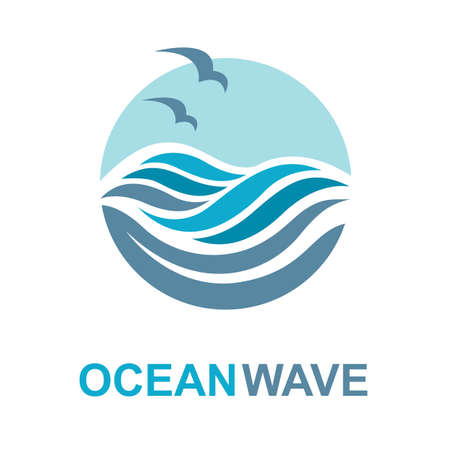 abstract design of ocean logo with waves and seagulls 向量圖像