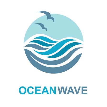 Diseño del extracto del logotipo de mar con las olas y las gaviotas