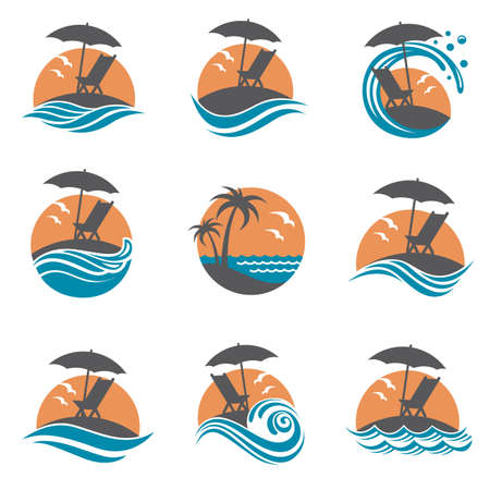 recline: emblems collection of summer vacation with reclining chair and umbrella on island Illustration