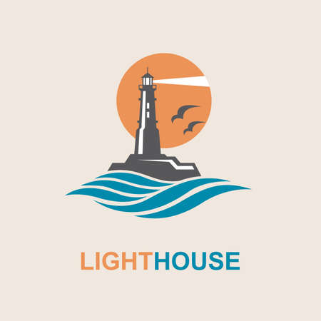 surface: lighthouse icon design with ocean waves and seagulls