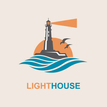 lighthouse icon design with ocean waves and seagulls