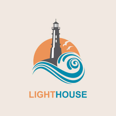 Leuchtturm-Symbol Design mit Ozeanwellen und Möwen Standard-Bild - 70438146