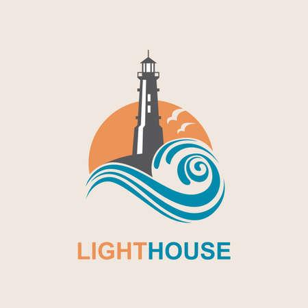 vuurtoren pictogram ontwerp met golven van de zee en meeuwen Stock Illustratie