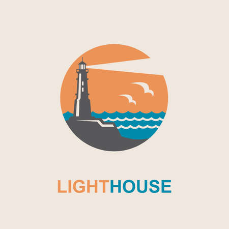 blue abstract: lighthouse icon design with ocean waves and seagulls