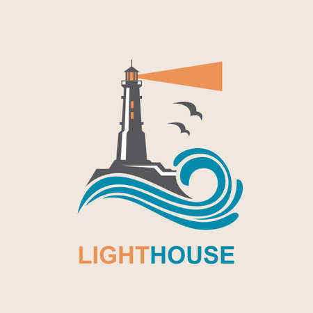 house construction: lighthouse icon design with ocean waves and seagulls