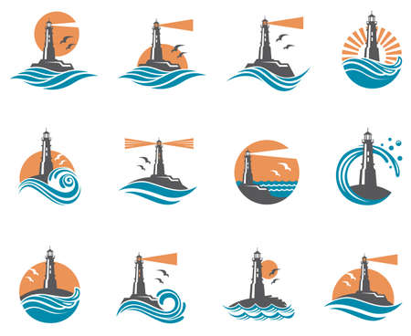 lighthouse icon set with ocean waves and seagulls