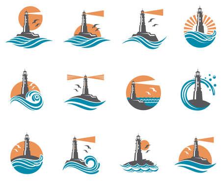 vuurtoren icon set met golven van de zee en meeuwen Stock Illustratie