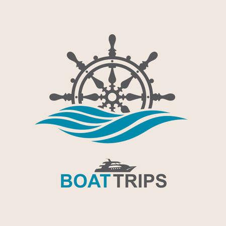 yacht helm wheel image with sea waves