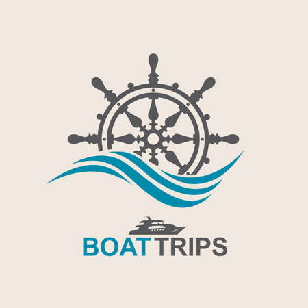 helm: yacht helm wheel image with sea waves