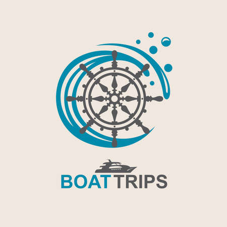 river: yacht helm wheel image with sea waves