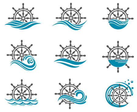 river: collection of yacht helm wheel image with sea waves