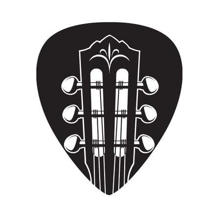 Imagen abstracta del cuello de la guitarra con la selección de negro