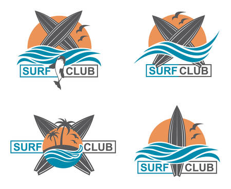 collection of of surfing emblems with sun and sea wave