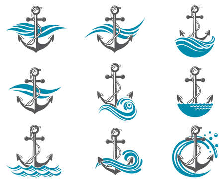 dock: collection of anchor symbol with sea waves