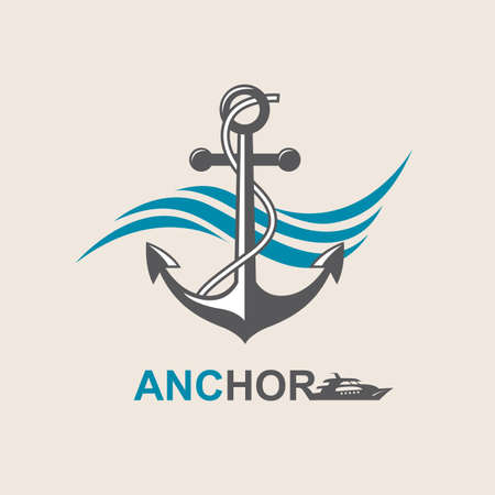 motorboat: image of anchor symbol with sea waves