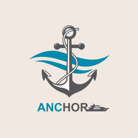 yacht: image of anchor symbol with sea waves
