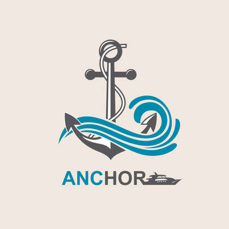 river: image of anchor symbol with sea waves