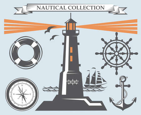 water wave: nautical collection of lighthouse, anchor, ship helm, lifebuoy and compass Illustration