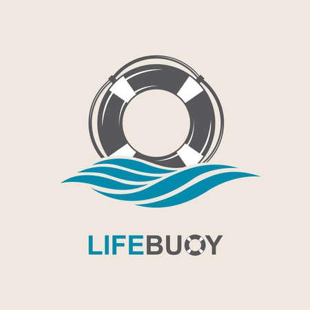 nadar: elemento de diseño salvavidas con las olas del mar
