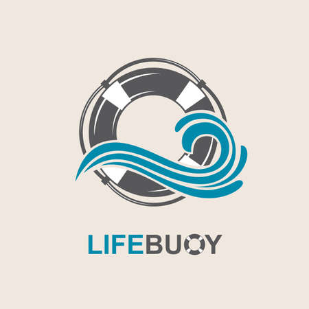 ocean wave: lifebuoy design element with sea waves
