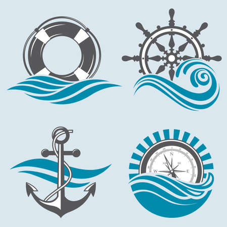 wave crest: nautical collection of anchor, ship helm, lifebuoy and compass Illustration