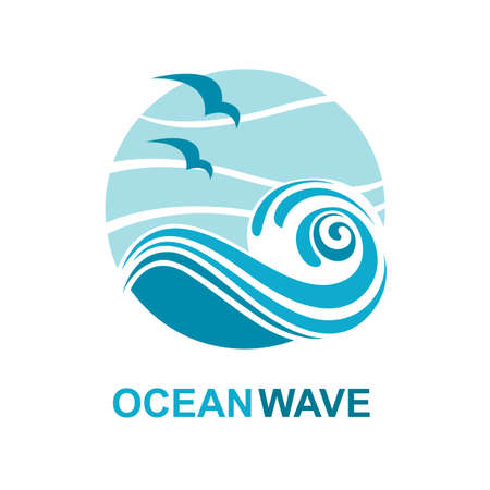 flowing water: abstract design of ocean logo with waves and seagulls Illustration