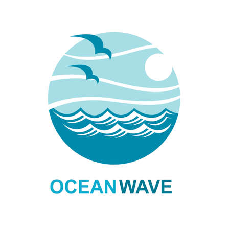 abstract design of ocean logo with waves and seagulls Stock Vector - 70663806
