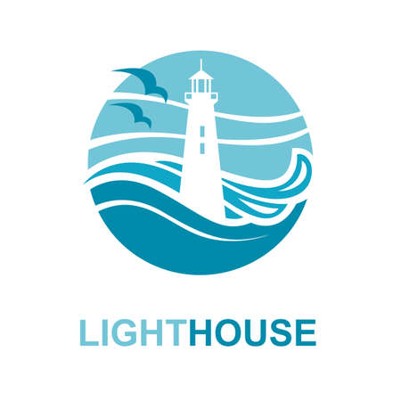 water wave: lighthouse icon design with ocean waves and seagulls