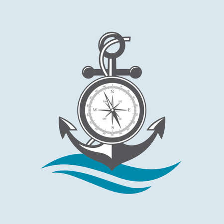 compass rose: Nautical emblem of anchor, compass and sea waves.