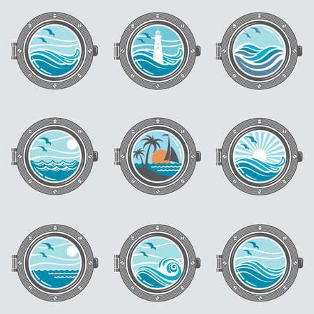 Sammlung von Schiffs Bullaugen mit Glas Vektorgrafik