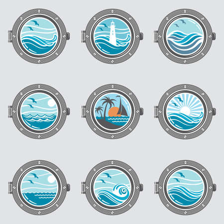 collection of ship portholes with glass